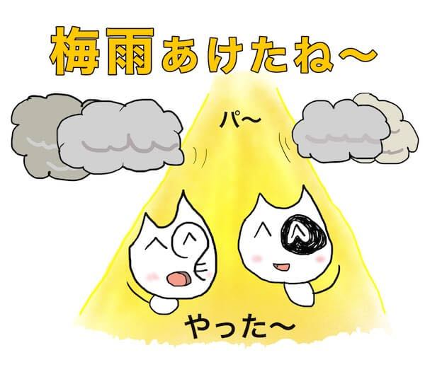 梅雨あけたね やった〜 喜ぶネコのイラスト 雲 光 パ〜