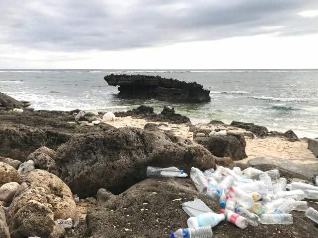 岸に打ち上げられた海洋プラスチックの汚染のイメージ