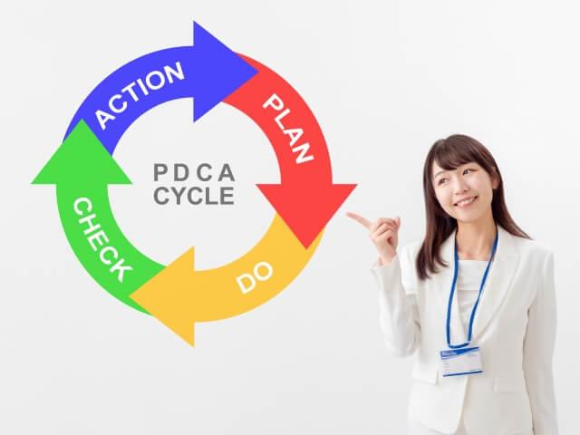 計画と実行のPDCAサイクルを回す女性