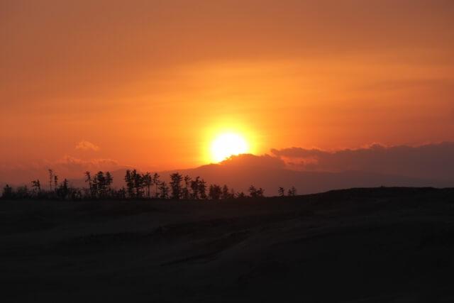 鳥取砂丘の夕暮れ