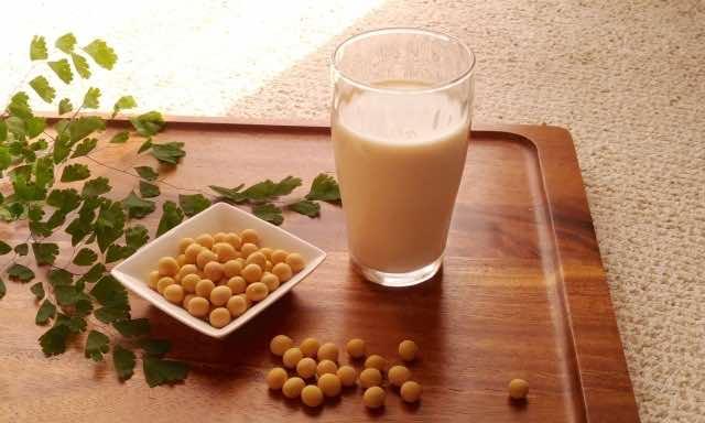お盆の上の大豆と豆乳