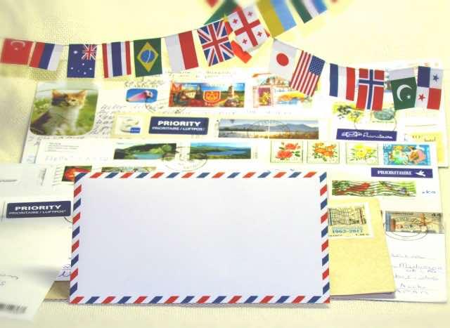 海外の国旗と航空便のサンプル