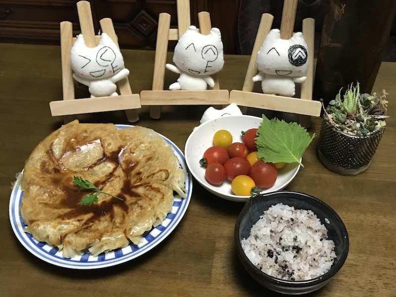 ミニトマトと餃子の手料理